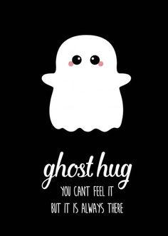 Kaart Ghost hug Ansichtkaart ghost hug is de perfecte kaart voor iedere vriend of vriendin, waar je even niet bij kunt zijn, maar wel wilt laten weten dat je er altijd zult zijn.