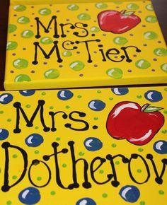 Mini Teacher Sign 8x10 painting by libbyoswald on Etsy, $25.00 Teacher Signs, Teacher Name, Teacher Stuff, Name Canvas, Canvas Art, Teacher Canvas, Bus Driver, Paint Party, School Days