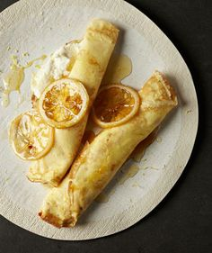 Lemon Crepes With Sweetened Ricotta.I love the idea of ricotta in crepes! Köstliche Desserts, Dessert Recipes, Lemon Desserts, Plated Desserts, Dessert Healthy, Drink Recipes, Most Popular Desserts, Food Porn, Think Food
