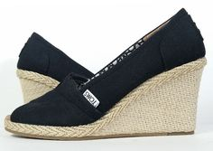 $70 TOMS SHOES 7.5 BLACK PEEP TOE ESPADRILLES WEDGE  *EXCELLENT* Womens 7.5 #TOMS #PlatformsWedges #Versatile