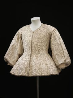Jacket Fustian handsewn w/linen thread, embroidered with silver thread and spangles, edged w/silver bobbin lace   English 1630-1640  V Search the Collections
