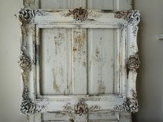 Ornate large frame distressed cream white shabby cottage chic chippy painted frame antique farmhouse wall hanging decor anita spero design