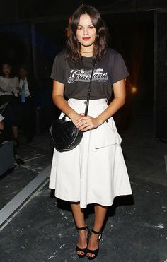Atlanta de Cadenet-Taylor spotted at the Marc by Marc Jacobs S/S 15 show wearing a vintage tee and a long, flowy skirt // #NYFW