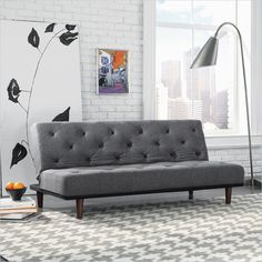 Studio RTA Premier Crash Convertible Sofa in Dark Grey