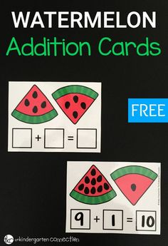 These watermelon seed addition cards are perfect for preschool, kindergarten or first graders to work on beginning addition skills!