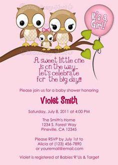 Owl Baby Shower Invitation GIRL Mommy Daddy PINK by monkeyhut, $16.00