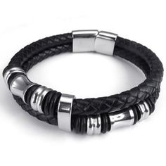 "KONOV Jewelry Leather Mens Bracelet Stainless Steel Charms Clasp, Black Silver - 8"", 8.5"", 9"" -"