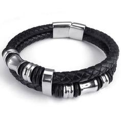 "KONOV Jewelry Leather Mens Bracelet Stainless Steel Charms Clasp, Black Silver - 8"", 8.5"", 9"" -"