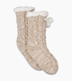 Lined with soft fleece, these cable-knit socks feel just like slippers, and are perfect for lounging around the house. UGG Women's Pom Fleece Lined Crew Sock Polyester In White Bedroom Slippers, Ugg Slippers, Slipper Socks, Cable Knit Socks, Knitting Socks, Nylons, Ugg Website, Blazers, Shopping
