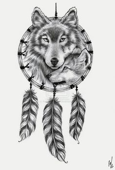 wolf, dreamcatcher