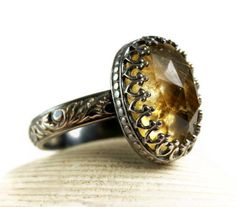 Someone buy this for meeeee!!! November Birthstone.Antiqued+Sterling+Silver+Citrine+Ring+by+TazziesCustomJewelry,+$128.00