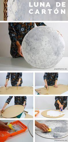 Cómo-hacer-luna-de-cartón-diy-moon - Two the Moon party Themes, Ideas, Images