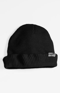 $16, Black Beanie: Neff Fold Beanie Black One Size. Sold by Nordstrom. Click for more info: http://lookastic.com/men/shop_items/157192/redirect