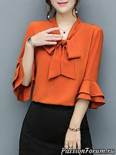 Buy Tie Collar Bowknot Plain Bell Sleeve Blouse online with cheap prices and dis… 2019 Blouse Styles, Blouse Designs, Dress Outfits, Fashion Dresses, Fashion Blouses, Dress Shoes, Vetement Fashion, Bell Sleeve Blouse, Bell Sleeves