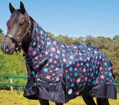 Weatherbeeta Original 1200D Pony Combo Medium Turnout Rug: Black Stars - Goyt Mill Saddlery - GoytMill.com