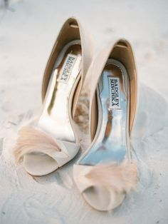 pink feather wedding shoes