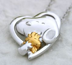 [Snoopy Jewel Boutique] Peanuts Snoopy & Woodstock Heartful Pendant Necklace