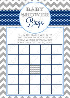 This was the bingo game I was thinking about. They have cards that are already filled in with standard gifts too if we want to use one of those. There are lots of options on pinterest, or we can even do our own in word. Instant Download Boy Baby Shower Bingo by SassyGraphicsDesigns