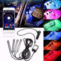 BUY now 4 XMAS n NY. 4x 9LED RGB Car Interior Decorative Floor Atmosphere Lamp Strip Light Smart Intelligent Wireless Phone APP Control Voice Control * Just click the image will lead you to find similar trending pieces on  AliExpress.com