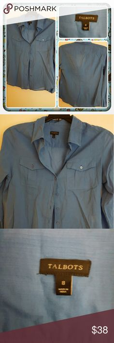 💙 Woman's Blue Button Down Top Size 8P 💙 Woman's Button Down Top From Talbots Size 8P. This Appears To Be In Great Pre Loved Condition Super Cute With Pants Or Jeans 🚫 PAYPAL 🚫 TRADES 🚫 LOWBALLING THANK YOU 💙 Talbots Tops Button Down Shirts