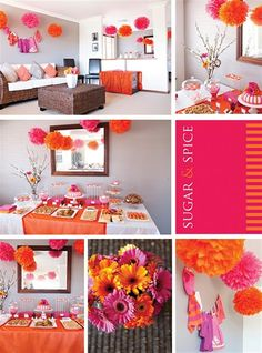 shower ideas or grray for any party.. the bright colors make it pop.