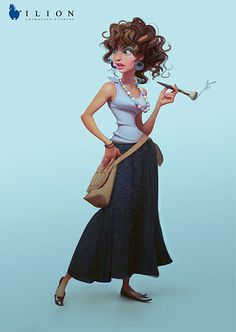 Such a great caricature and illustration from Ilion Animation Studios.  This woman has so much character from her poise, her clothes, her accessories, and her props.  Nice job to whoever illustrated this.