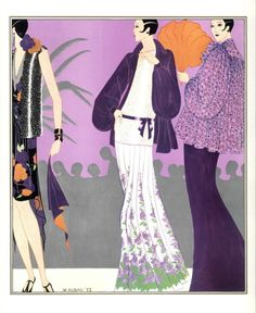 Illustration by Walter Albini for his spring/summer 1973 collection Art Deco Artwork, Italian Fashion Designers, Vogue Uk, Lost Art, Fashion Design Sketches, Fashion Project, Vanity Fair, Gatsby, Editorial Photography