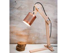 Table lamps lamps lighting desk lamps wood desk by EunaDesigns Wooden Desk Lamp, Copper Table Lamp, Copper Lamps, Wood Lamps, Wood Desk, Table Lamps, Industrial Lamps, Modern Industrial, Bureau Simple