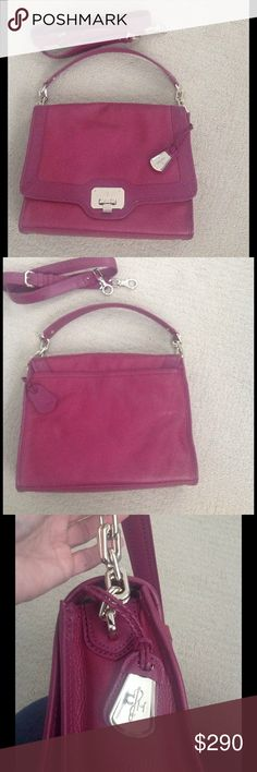 NWOT Cole Haan shoulder bag with chain detail New w/out tag Cole Haan leather shoulder bag with chain link and leather strap. Comes with additional all leather cross body strap that can be added. This is a shade of raspberry pink- last 2 photos show color better, hardware is soft gold color. Outside back slip pocket- inside wall pockets & zipper pocket & key holder. Beautiful!! Cole Haan Bags Shoulder Bags