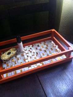 """The Kiss"" glass mosaic vanity tray"
