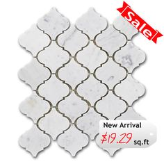 Discount Glass Tile Store - Stone Arabesque Tile - White Carrara $19.29 sq.ft 12x12 Mosaic Mesh Mount Sheet, $19.29 (http://www.discountglasstilestore.com/stone-arabesque-tile-white-carrara-19-29-sq-ft-12x12-mosaic-mesh-mount-sheet/)