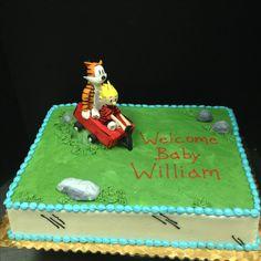 Handmade fondant Calvin and Hobbes baby shower cake! #calvinandhobbes #calvinandhobbescake #birthdaycake #babyshowercake