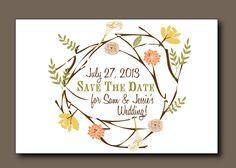 Save the Date Postcard -  Spring Wedding, Summer Wedding, Rustic Wedding, Bohemian Wedding, Indie Style. $3.50, via Etsy.