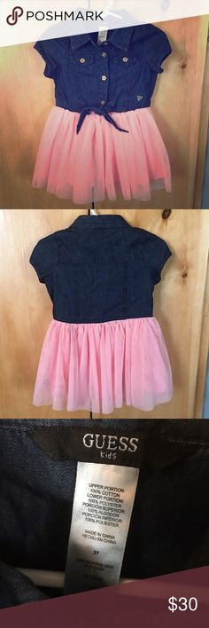 Guess dress pink tulle skirt attached to denim top. worn 1 time for an hour! size says 3T however it runs very small way too small (in length) for my 3yo. recommend for 2T or very small 3T babe. Guess Dresses