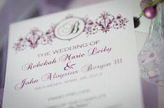 Elegant Damask Wedding Program, Customized for you,  and then you print. $20.00, via Etsy.