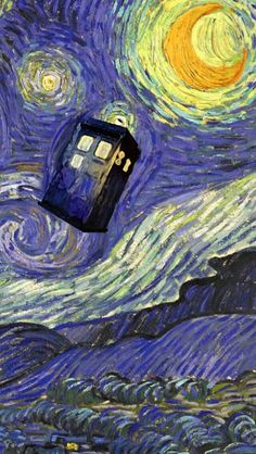 Doctor Who Tardis Vincent Van Gogh iPhone And iPod Touch Case Tardis painted right ontop of the Vincent Van Gogh The Starry Night painting. Sf Wallpaper, Whats Wallpaper, Doctor Who Wallpaper, Iphone 5 Wallpaper, Painting Wallpaper, Painting Canvas, Tardis Wallpaper, Canvas Art, Moon Painting