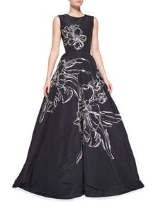 Sleeveless Floral-Embroidered Gown, Navy by Oscar de la Renta at Neiman Marcus.