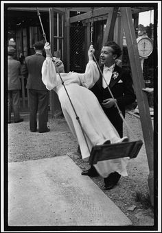 """Henri Cartier-Bresson  FRANCE. The Val de Marne 'departement'. Joinville-le-Pont, near Paris. 1938.    """"A newly-wed bride and groom at an outdoor café on the Marne. The couple were here for the entire afternoon with a full wedding party which included uncles, aunts and small children of the family."""""""