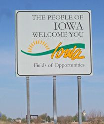Welcome to Iowa (my husband & I see this sign many times throughout the years as we cross from MO. into IA.)