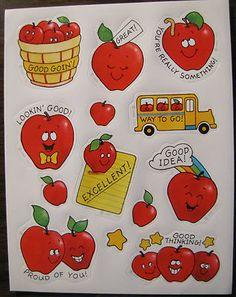 1983 Very RARE Vintage Hallmark Sticker Sheet Apples School Theme Teacher Reward | eBay
