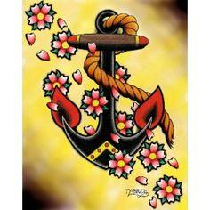 Anchor & Flowers by Tyler Bredeweg Tattoo Art Canvas Fine Art Print - Purple Leopard Boutique