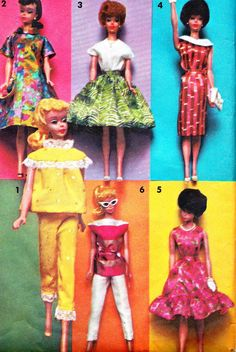 1960s Barbie Doll Clothes Pattern Advance Group D by paneenjerez