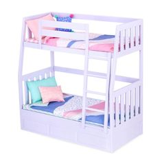 Our Generation Bunk Beds for 18 Dolls - Lilac Dream Bunks When it's time for a sleepover, your kiddo's doll will love hosting friends with this fun and a functional bunk bed. The Our Generation Bunk Beds for 18 Baby Dolls, Og Dolls, Baby Alive Dolls, Baby Doll Nursery, American Girl Beds, American Girl Doll Room, American Girl Furniture, Doll Bunk Beds, Bunk Bed Sets