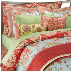turquoise and coral - exactly the bedding I've been looking for!
