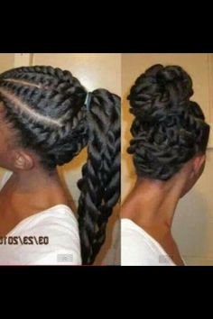 Flat twists long ponytail up hair style for flat iron black hair. Soft exotic look for black women.