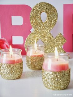 Bodas una Imagen, un Escaparate: DIY: velas con purpurina dorada.