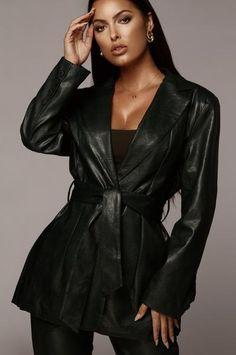 Outerwear – JLUXLABEL Mesh Bodysuit, Leather Blazer, Winter Coats Women, Fall Collections, Black Faux Leather, Girl Boss, Wrap Dress, Chic, Green