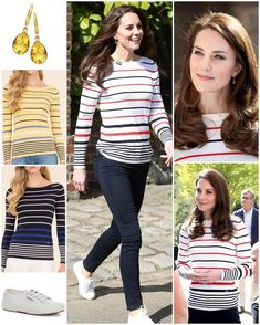Kate's definitely a Breton stripe fan! Today she added yet another striped top to her wardrobe: this one is by a brand she has worn before, Luisa Spagnoli. Kate was also wearing her Superga Cotu Classic sneakers in white. It was back to her favourite earrings for causal appearances: Kiki McDonough's Citrine Classic Pear Drop Earrings.