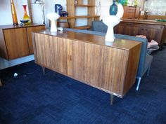 Tambour Door Credenza Mid Century Record Cabinet by XcapeVintage