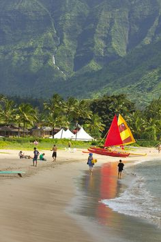 *Outrigger canoes on the beach at Hanalei Bay, on Kauai's north shore.